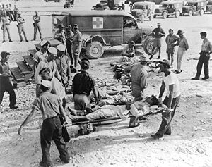 Survivors of the USS Indianapolis on Guam, in August 1945.