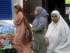 Bangladeshi women at Whitechapel Market, in ea...
