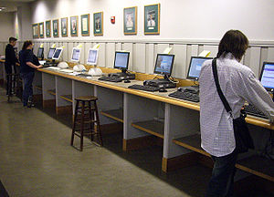 Photograph of BlitzMail terminals in Baker-Ber...