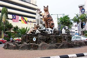 Kuching, Sarawak, Borneo, Malesia, statue di gatti