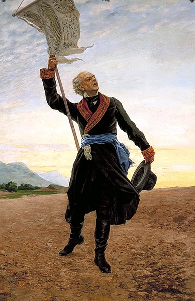Father Hidalgo: Antonio Fabres, Miguel Hidalgo, oil on canvas, image taken from: Eduardo Baez, military painting in the nineteenth century Mexico, Mexico, National Defense Secretariat, 1992, p.23. Wikipedia image