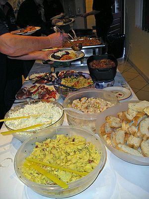 English: salad buffet Deutsch: Salatbuffet Mag...