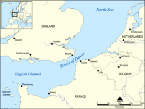 Map showing the location of the Strait of Dover.