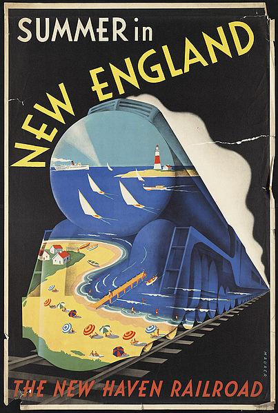 Vintage travel posters inspiring tourism to New England USA