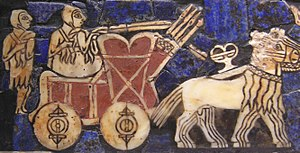 "A depiction of an onager-drawn carts on the Sumerian ""battle standard of Ur"" (circa 2500 BC)"