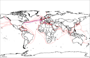 Map showing submarine telecommunication cables...