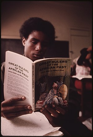 BLACK STUDENT IN A BLACK STUDIES CLASS IN A WE...