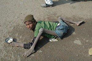 A beggar in Bodhgaya in India