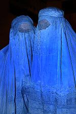 Two Afghani women wearing Burqas