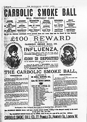 Newspaper Ad for the Carbolic Smoke Ball Company