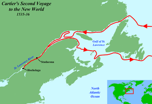 English: Map of Jacques Cartier's second voyag...