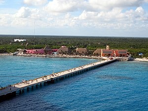 Costa Maya, Mexico. The pier and resort seen h...