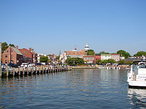 English: The dock or harbor in Annapolis, Mary...