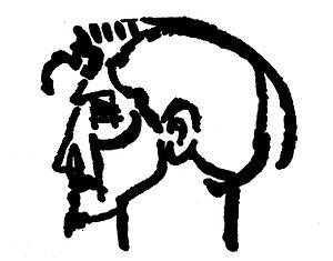 A drawing of Ezra Pound by Henri Gaudier-Brzes...