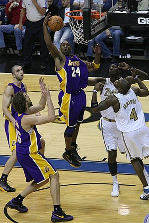 Kobe Bryant of the Los Angeles Lakers in actio...