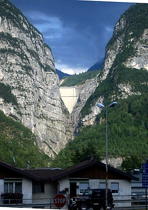 The Vajont Dam as seen from Longarone today, s...