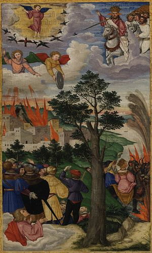 Page 302v: The Fall of Babylon, Revelation 18:...