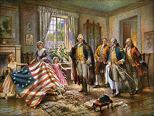 Betsy Ross presenting the first American flag ...