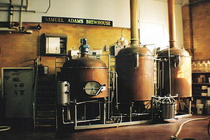 Boilers at the Samuel Adams brewery in Boston,...
