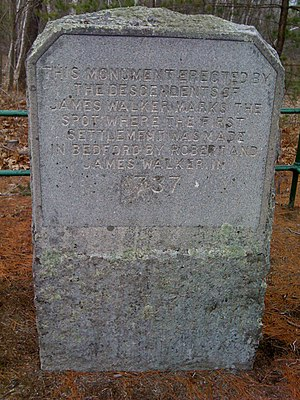 First Settlement marker at Bedford NH