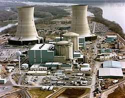 The Three Mile Island NPP on Three Mile Island, circa 1979