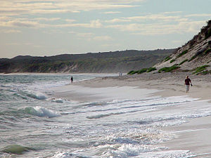 Beach walkers to the north, Wanneroo Beach