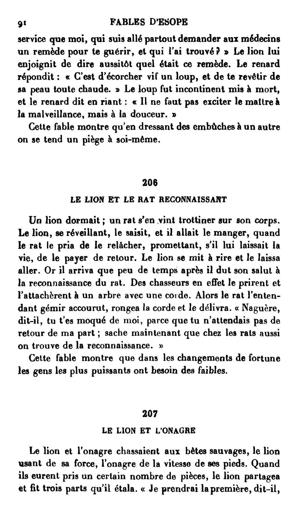 Le Lion Et Le Rat Esope : esope, Page:Ésope, Fables, Émile, Chambry.djvu/232, Wikisource