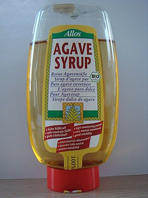 A photo of agave syrup bottle