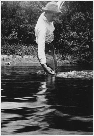 Ernest Hemingway Fishing at Walloon Lake, Mich...