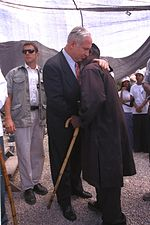 Netanyahu at a memorial service of Ethiopian Israeli immigrants, in honor of their friends who died on their way to Israel.