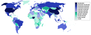 A map of the world detailing population of the...