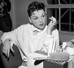 Singer Judy Garland in her dressing room at Gr...