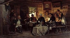 Kutuzov at the Fili conference decides to surr...