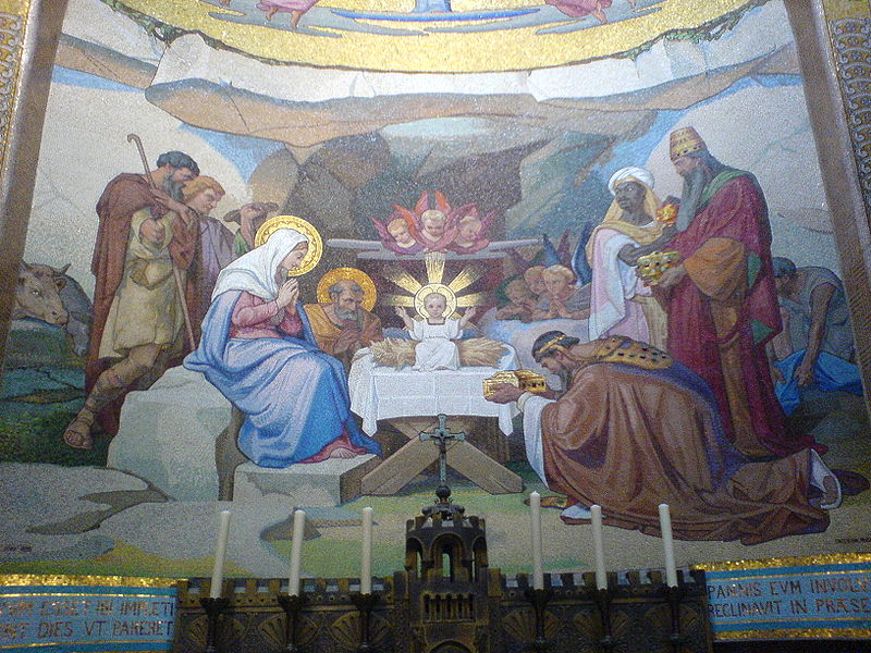 File:Mosaic in the in the Rosary Basilica, Lourdes 2.JPG