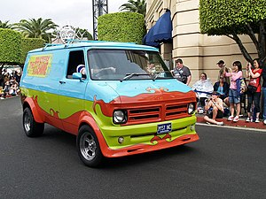 The Mystery Machine during the All-Star Parade...