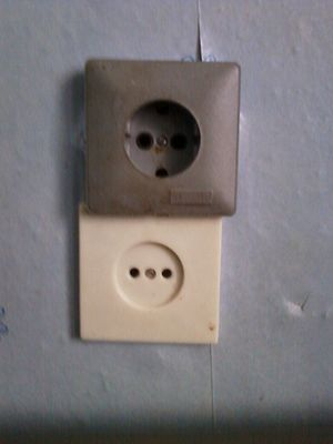 English: Improperly istalled outlets. There we...