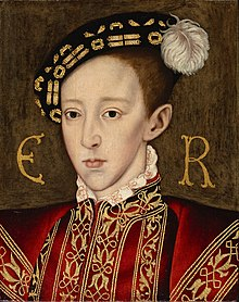Formal portrait in the Elizabethan style of Edward in his early teens. He has a long pointed face with fine features, dark eyes and a small full mouth. In this portrait he looks thin and ill.