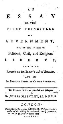 """Page reads: """"An Essay on the First Principles of Government, and on the Nature of Political, Civil, and Religious Liberty, including Remarks on Dr. Brown's Code of Education, and on Br. Balguy's Sermon on Church Authority. The Second Edition, corrected and enlarged, by Joseph Priestley, LL.D. F.R.S. London: Printed for J. Dodsley, in Pall-Mall; T. Cadell, (successor to Mr. Millar) in the Strand; and J. Johnson, No. 72 in St. Paul's Church-Yard. MDCCLXXI."""""""