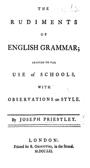 Title page from Joseph Priestley's Rudiments o...