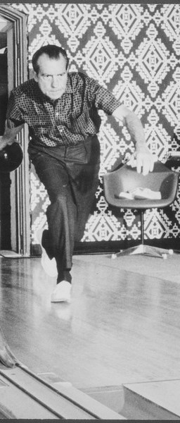 Richard M. Nixon bowling at the White House bowling alley - NARA - 194671