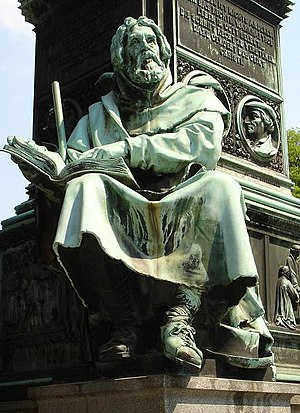 1868 statue of Peter Waldo at the Luther Memor...