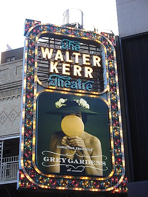Marquee of the Walter Kerr Theatre, advertisin...