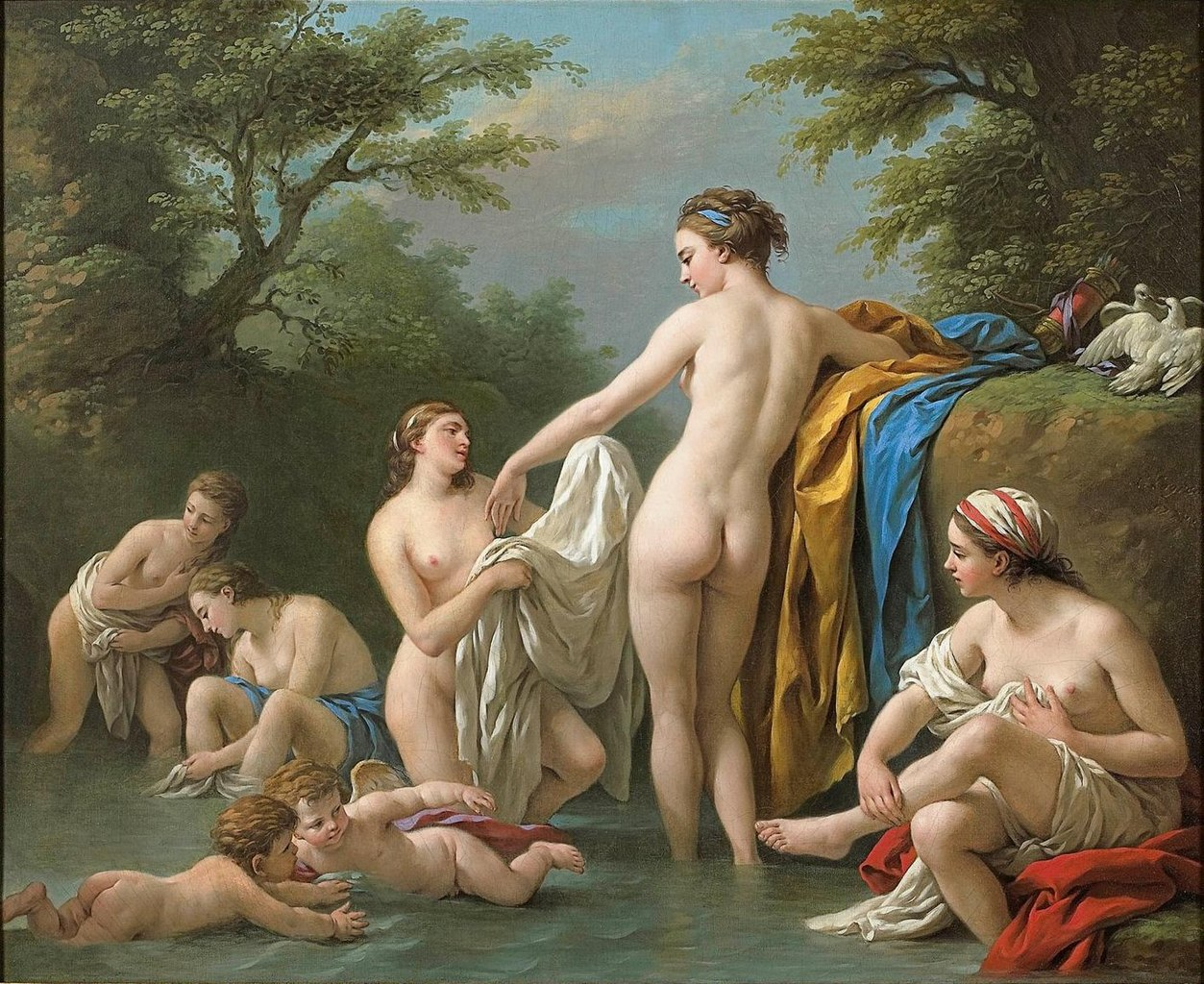 FileVenus and Nymphs Bathing a painting by French artist Louis JeanFrancois Lagreneejpg