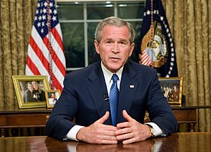 English: President George W. Bush delivers an ...