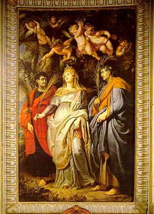 Ancient Roman saints Domitilla with Nereus and...