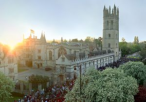 English: Magdalen College, Oxford on May Morni...