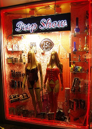 Peep show window displaying pornographic enter...