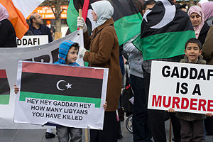 "Protest In Dublin: ""Gaddafi Is A Murderer..."