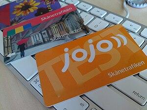 Various Wikipedia:Skånetrafiken payment cards....