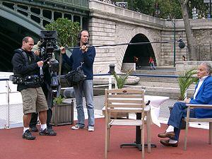 Equipe de tournage d'un court métrage à Paris,...